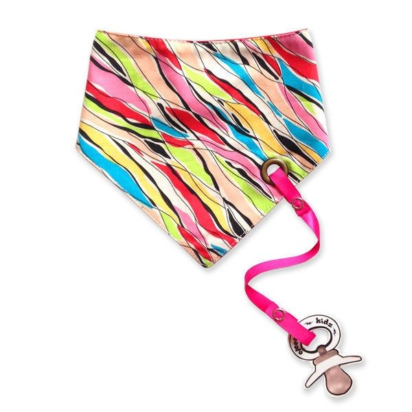 Colored rear tied bib scarf (with pacifier chain)