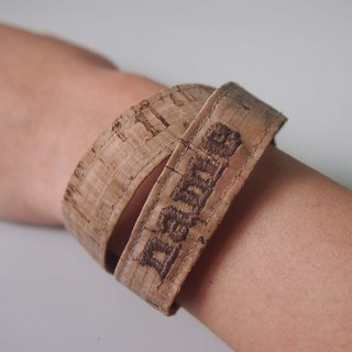 Personalized Name Cork Ribbon Bracelet Strap Custom made