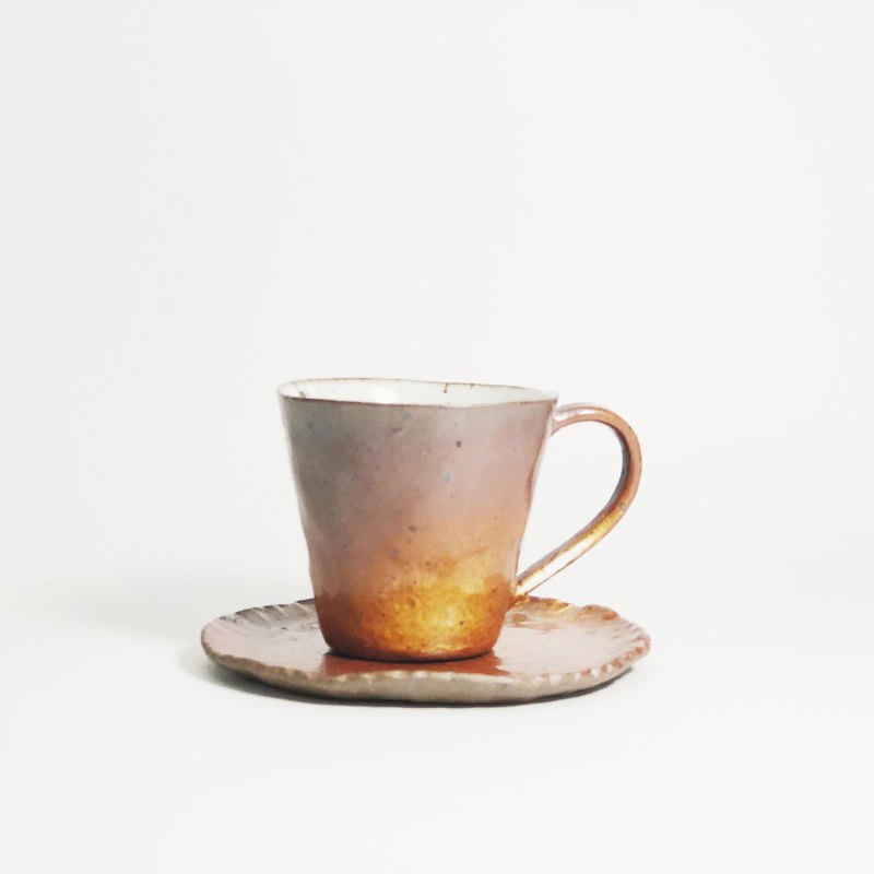 Retro hand-paste ceramic clay mini espresso coffee cup - dark orange