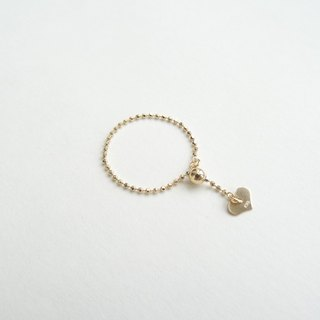 18K Yellow Solid Gold Adjustable Dainty Faceted Bead Chain Ring