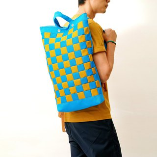 RAINY DAY-hand color block stitching waterproof canvas back / laptop bag