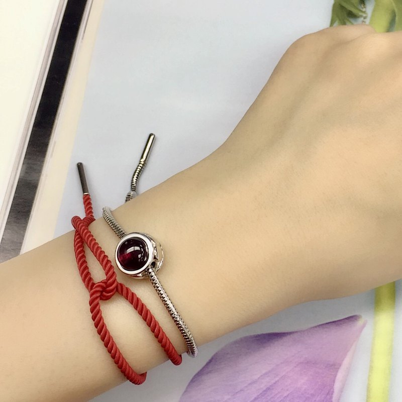 Esmée Bo. - 925 Sterling Silver Birthday Stone January Natural Pomegranate Red Snake Bracelet
