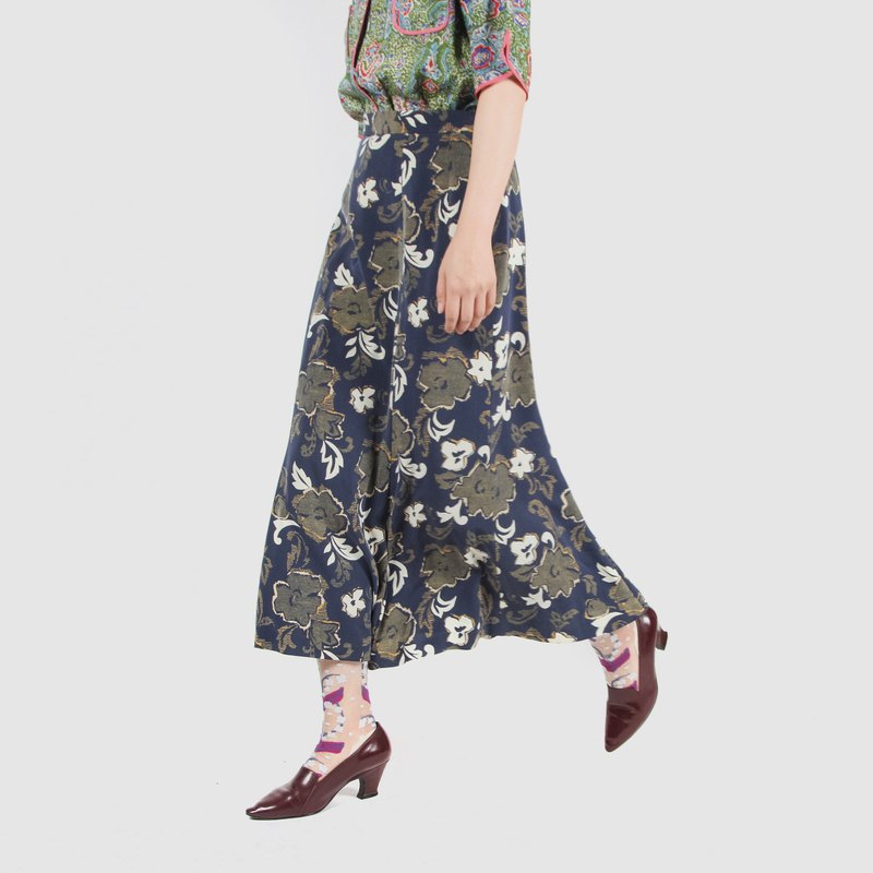 [Egg plant ancient] deep water seaweed printing vintage fishtail skirt
