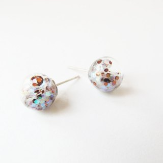 * Rosy Garden * brown and white glitter with water inside glass ball earrings