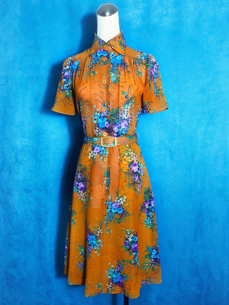 Flower belt short-sleeved vintage dress / abroad brought back VINTAGE