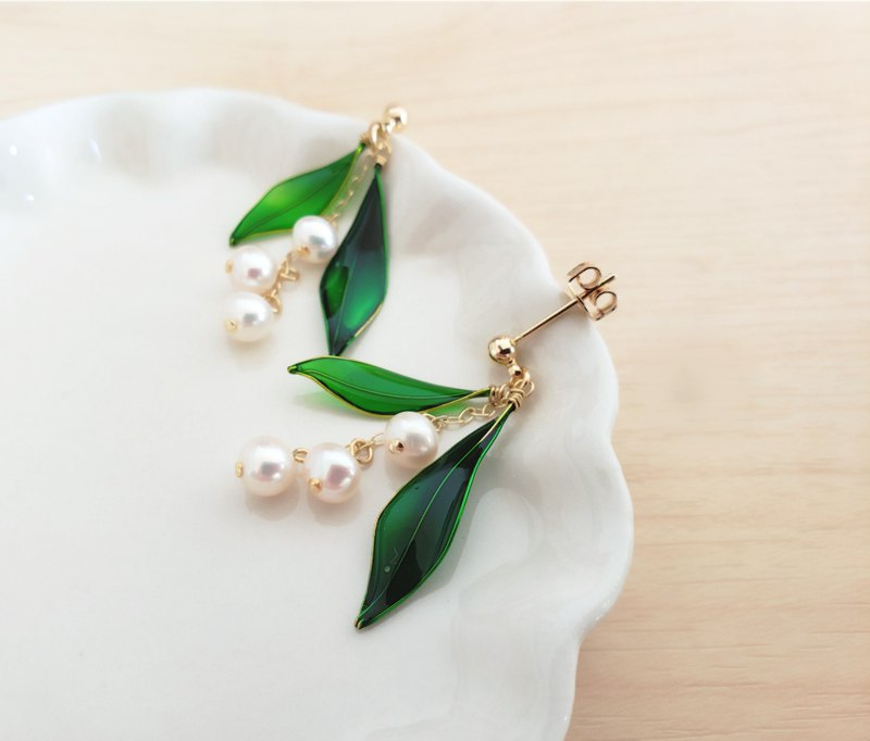 lily of the vallery freshwater pearl pierced earrings or clip-on earrings