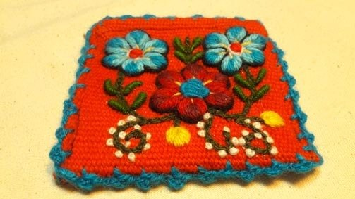 Hand-embroidered blue flowers small bag