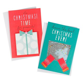 Two-color surprise gift Christmas box card 2 models a total of 10 [Hallmark-card Christmas series]