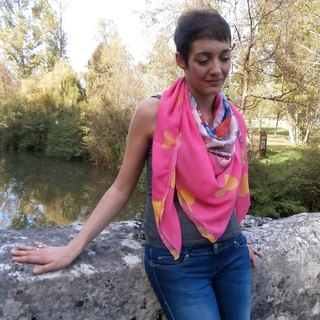 "Large Scarf  ""Swing Mouses"" 140x140cm"
