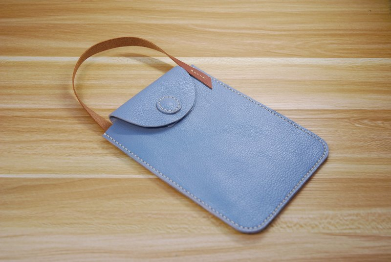 Phone small bag leather hand stitched (light gray)