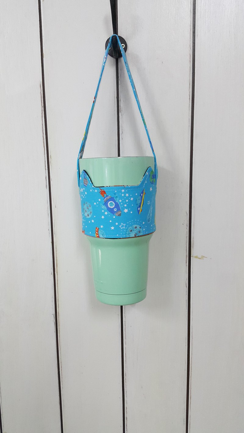 Fat cup & Ice Cup custom color custom subscript area - cat ears with green drink to go cup holder bag / double-sided available