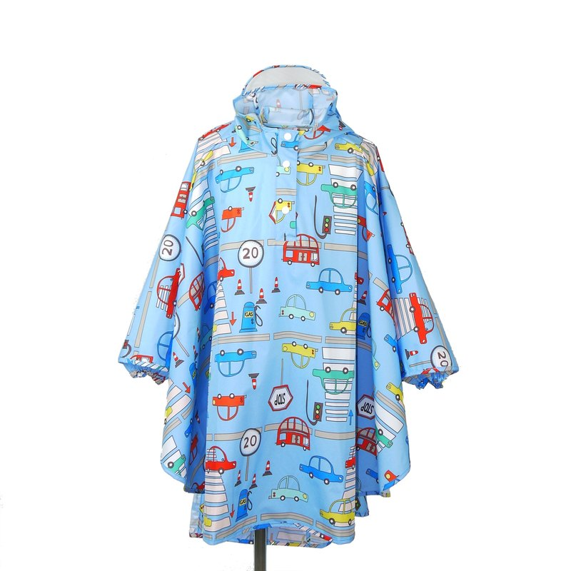 Waterproof and breathable printed children's raincoat <busy traffic>