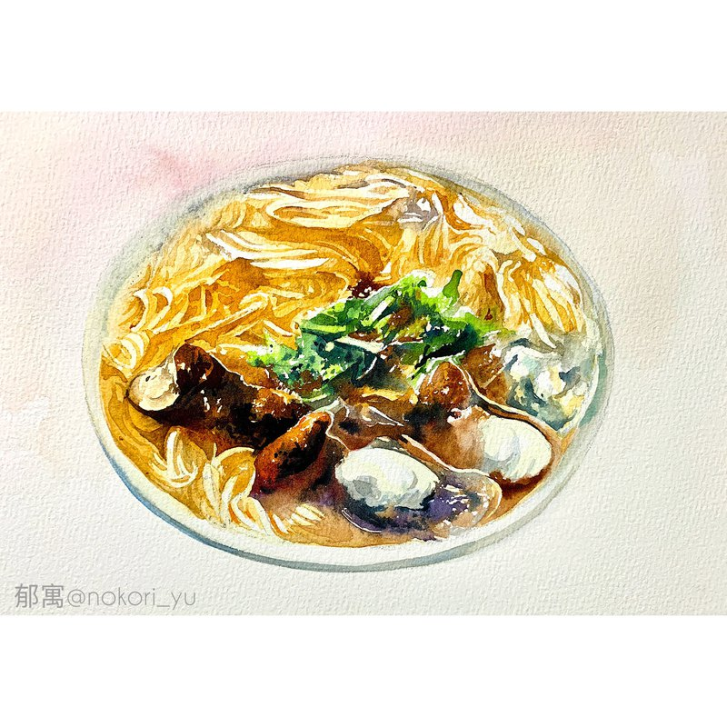 Yu Yu watercolor painting glittering noodle noodle line can order watercolor sketch watercolor watercolor painting decorative painting