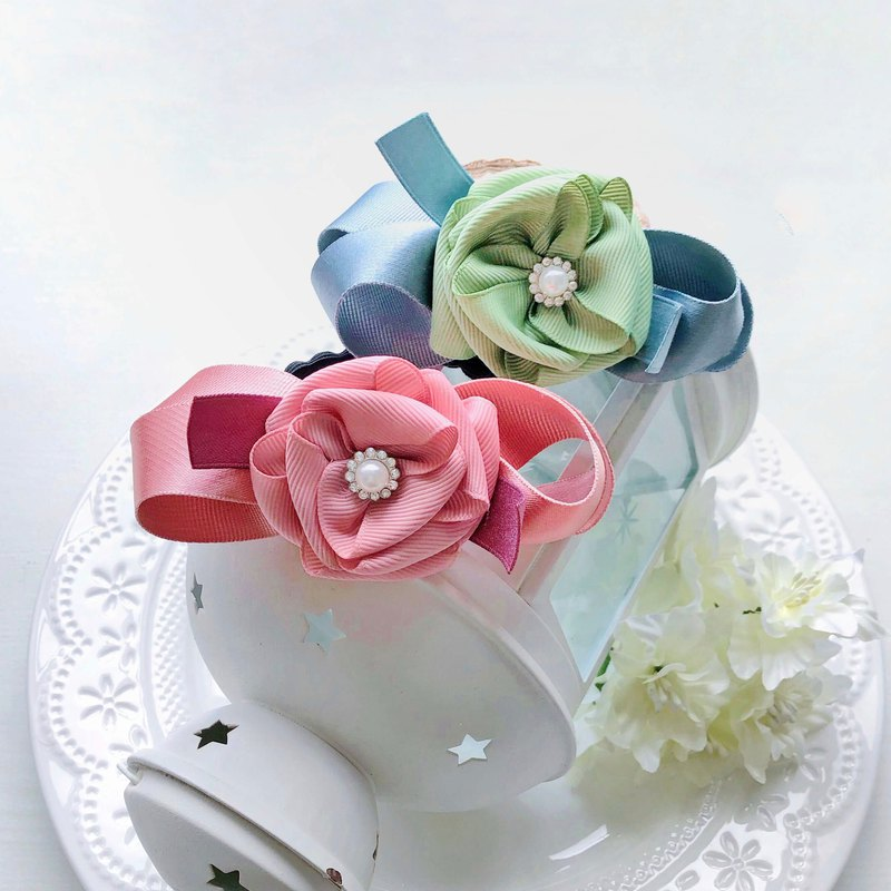 Ribbon hand-sewn flower elegant and elegant OL hair ring hair accessories-pink grass green