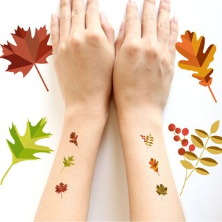 Autumn leaves temporary tattoos set in paper folding style.