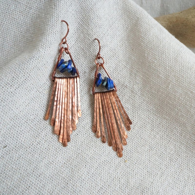 Handmade copper earrings - dripping tassel lapis lazuli