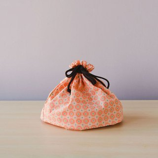 Traveling Purse-String Bag-M / Old Ceramic Tile No.2 / Peach Pink