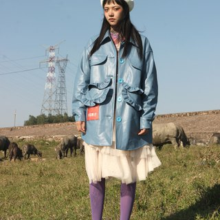Smoky blue Teddy lining retro old 爹 long loose leather women's jacket