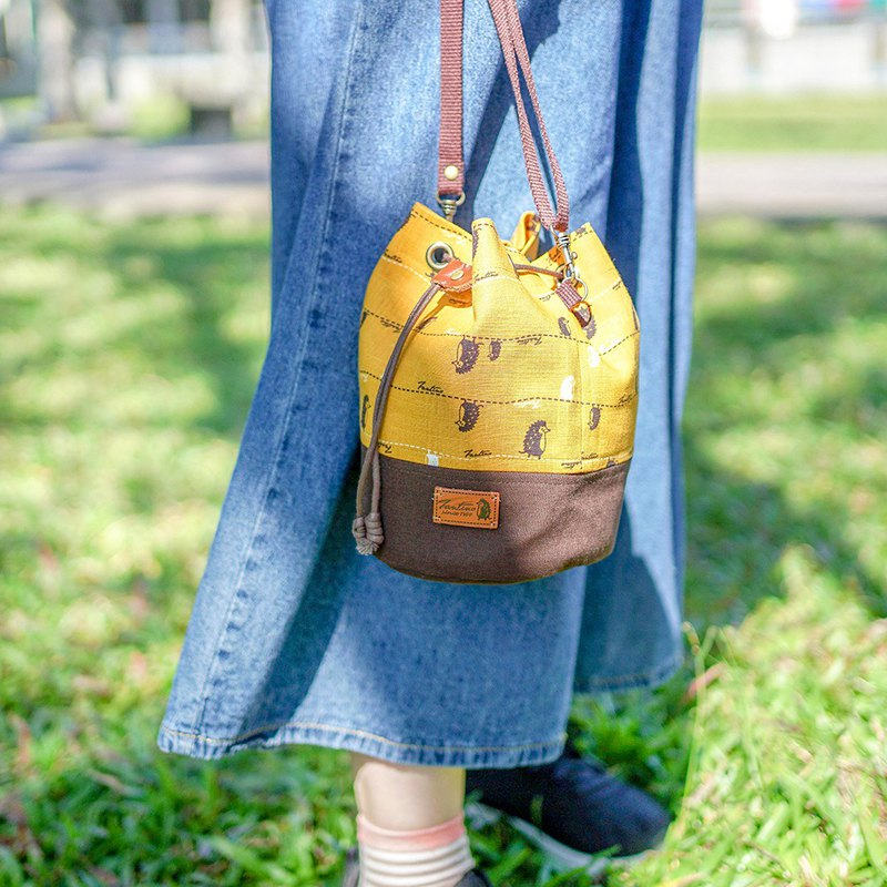 Stroll Front Side Drawstring Bucket Bag (Mustard Yellow)