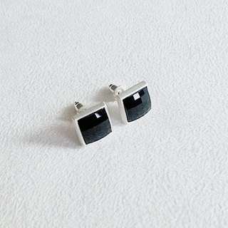 Square/Black/Matte surface/Earrings/Swarovski Crystal/Sterling Silver/By hand【ZHÀO】SZE1664