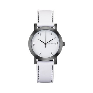 NO Monday Dropped Hours Collection Designer Watch - White / 35mm