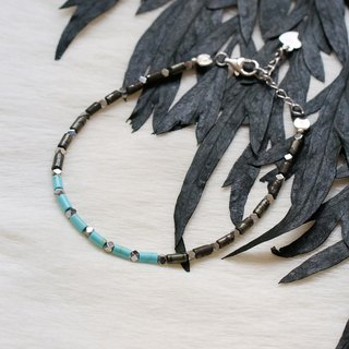 Pyrite + Turquoise Bracelet with Linear Memory Alloy
