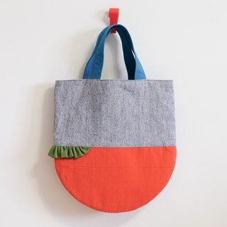Skirt shake - cotton and linen handbag - orange x blue EH75