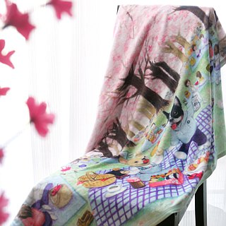 【Bruni and Gumby's Sakura Picnic】French Bulldog Blanket  | Pet Blanket