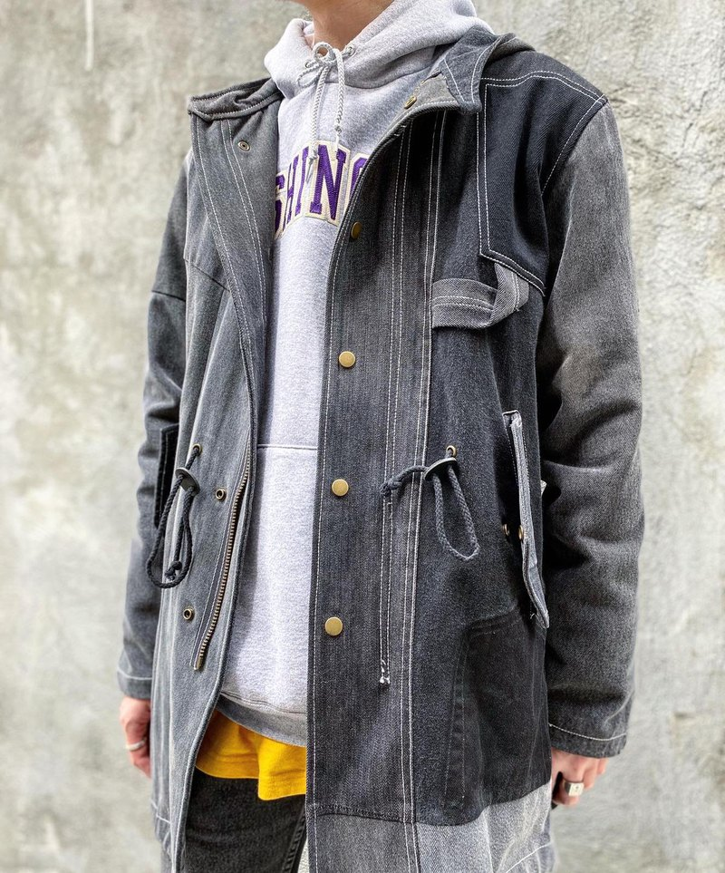 黑色牛仔布denim patchwork Parka