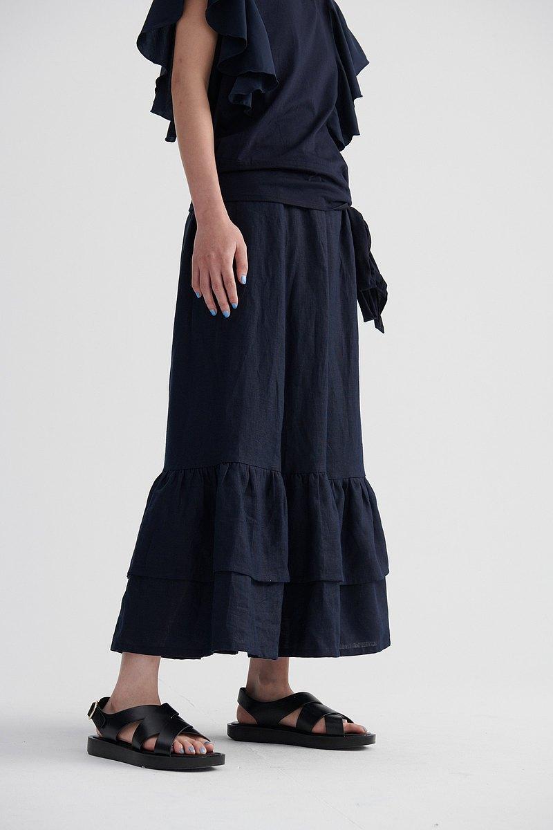 Shan Yong 深藍亞麻下擺雙層荷葉剪接長裙