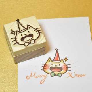 [Christmas limited] burned cat wearing a Christmas hat manual rubber stamp