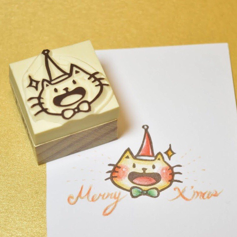 [Christmas limited] roasted cat wearing a Christmas hat handmade rubber stamp