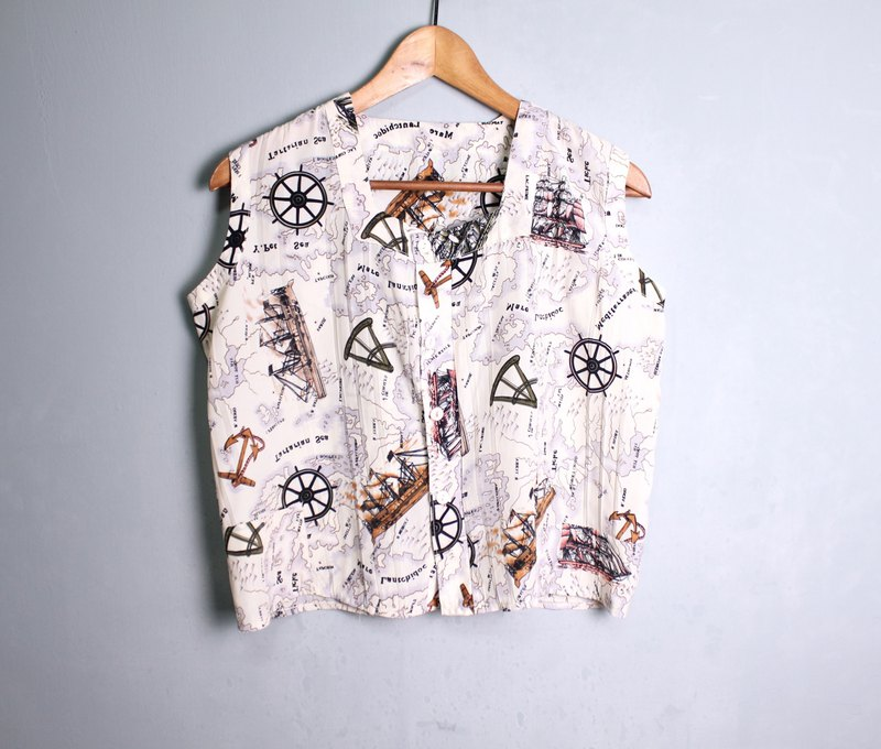FOAK vintage nautical map square collar vest