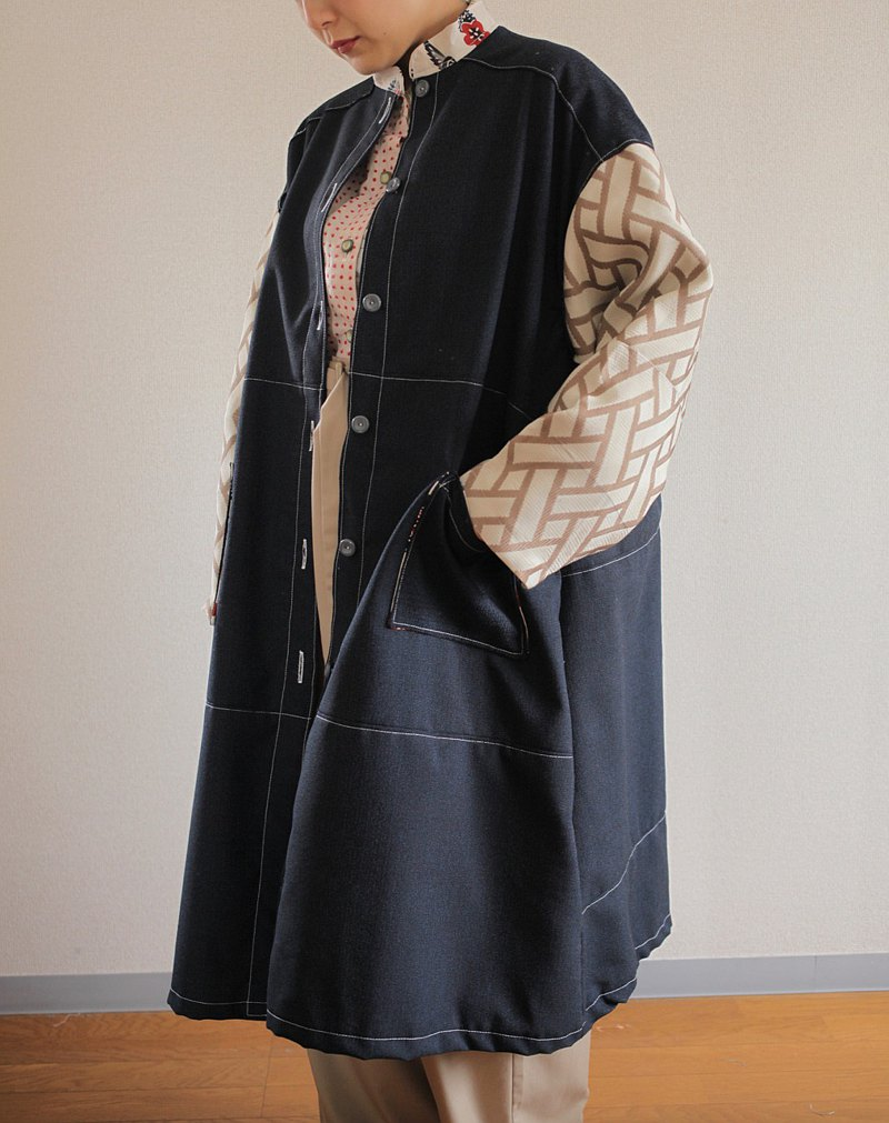 Dark Blue & Modern kimono Oversized Long Jacket