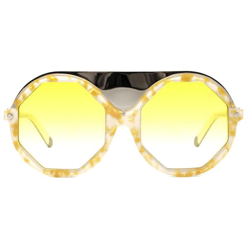 Sunglasses | Sunglasses | Golden yellow lens shape round frame | Italy made | plastic frame glasses
