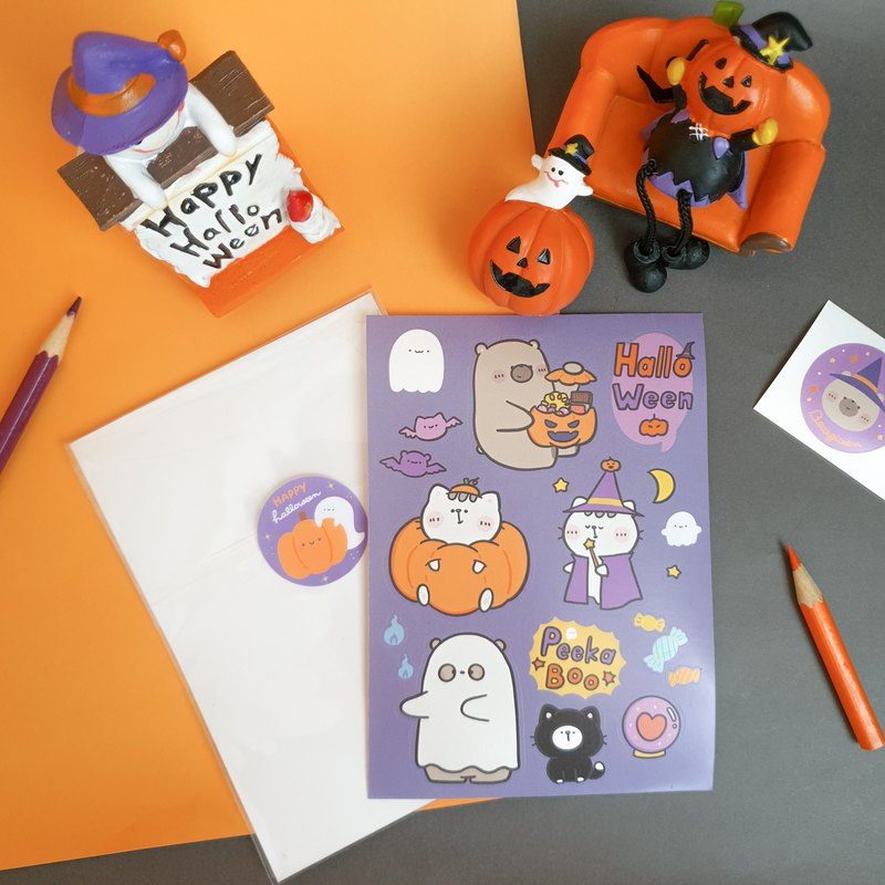 Mr. Bear and his cutie cat : Sticker Sheet (Halloween)