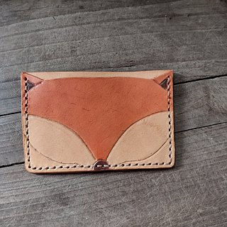 Fox / Owl retro portable pure leather business card holder - (limited edition)