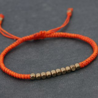 Friendship Bracelets Cube Brass Beaded Woven Bracelets Orange Basic