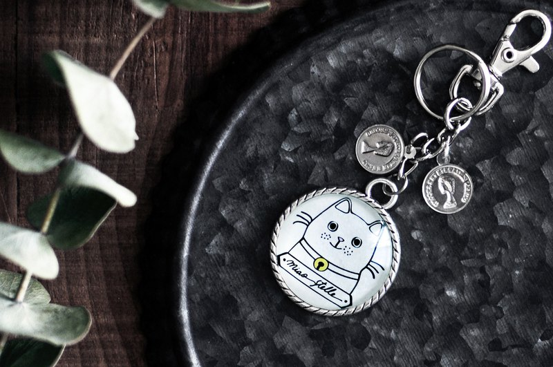 Home cat key ring - white cat / glass ball charm / 3cm large key ring