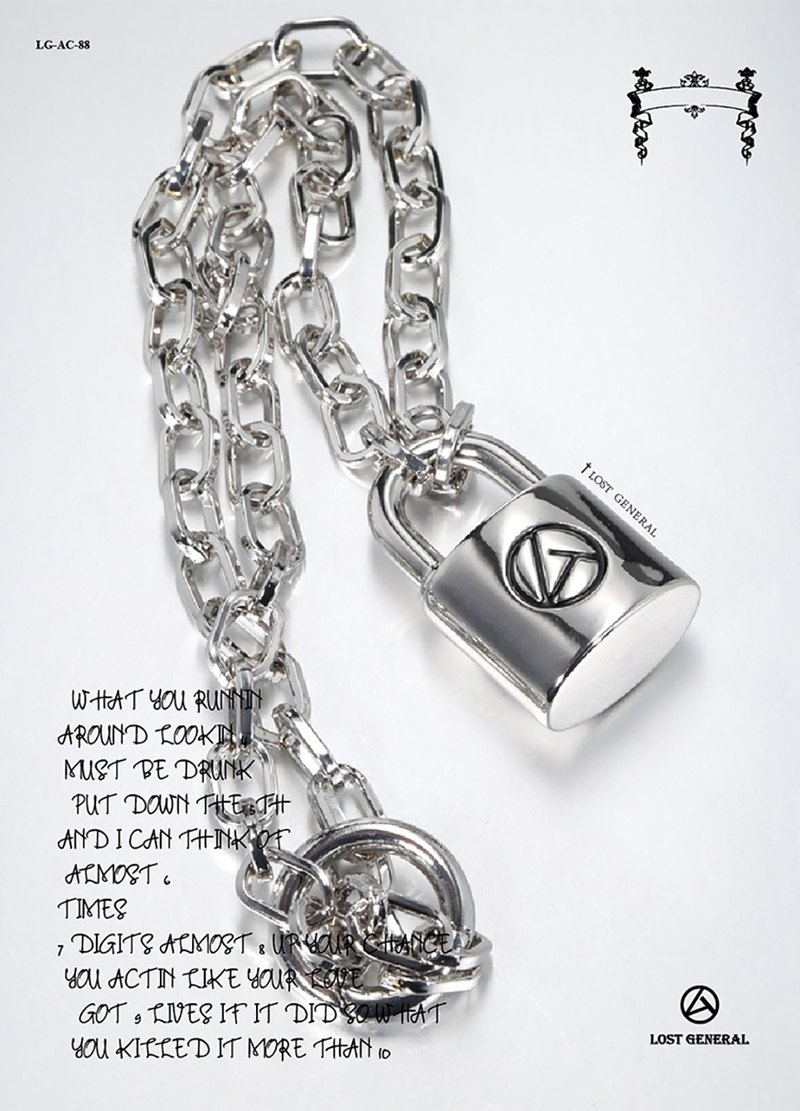 LOST GENERAL Designer New Street Trends Punk Lock Pendant Necklace