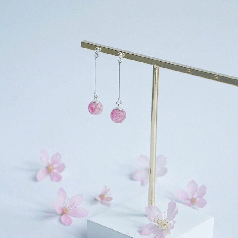 | palm の falling cherry |*small do not point*cherry sterling silver earrings (can be changed ear clip)