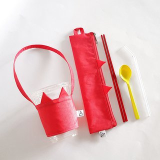 Ariel's wonderland/Strawberry Cat/Environmental Cutlery Bag + Beverage Bag/Exclusive Group