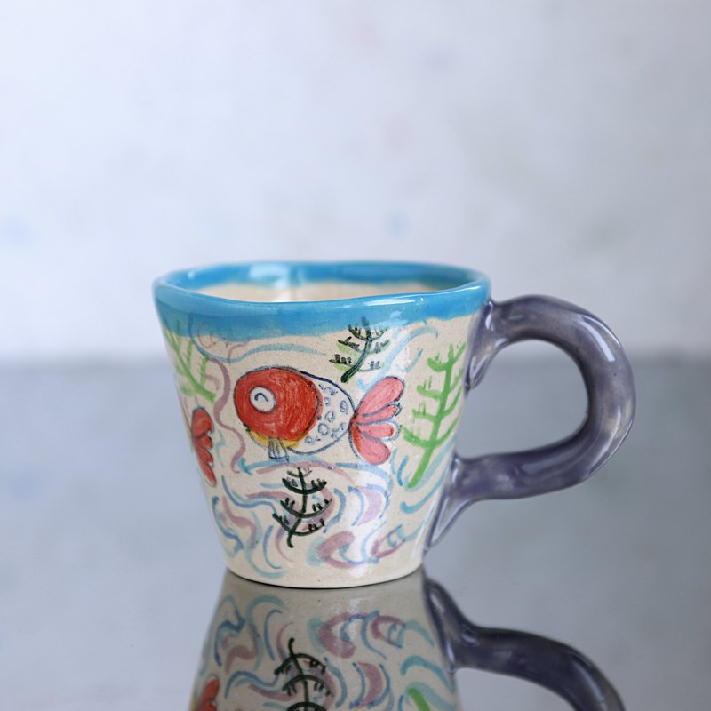 Hand drawn mug, purple handle