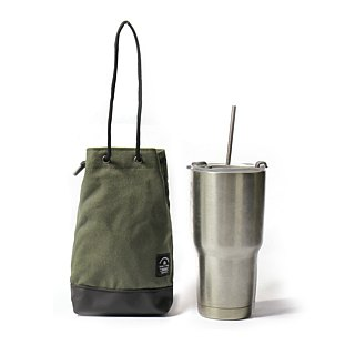 Point bag [icleaXbag] beverage bag simple drink accompanying bag can be lettering army green