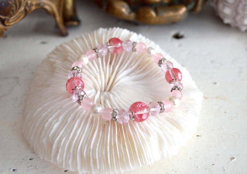 粉紅色水晶珠花紋圖案橡筋粉晶手鍊 日本二手中古珠寶首飾古著