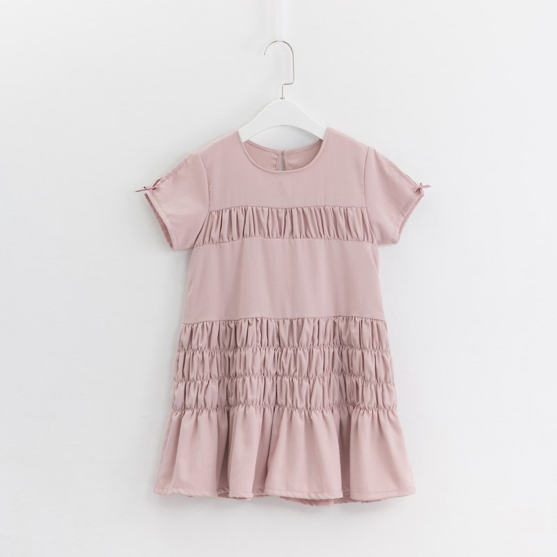 Wrinkled Design Dress - Light Pink