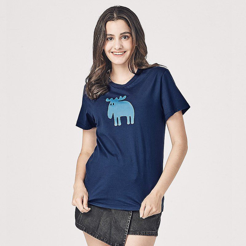 moz瑞典 駝鹿印花100%純棉短T(標準版)單寧藍(亞洲版)女款