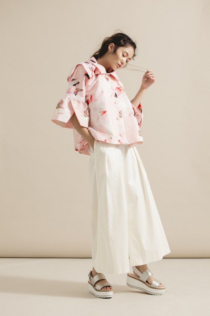 White nine-point pleated wide pants