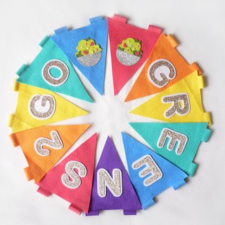 Alphabet triangle bunting for party, kids, baby shower, graduation, celebration