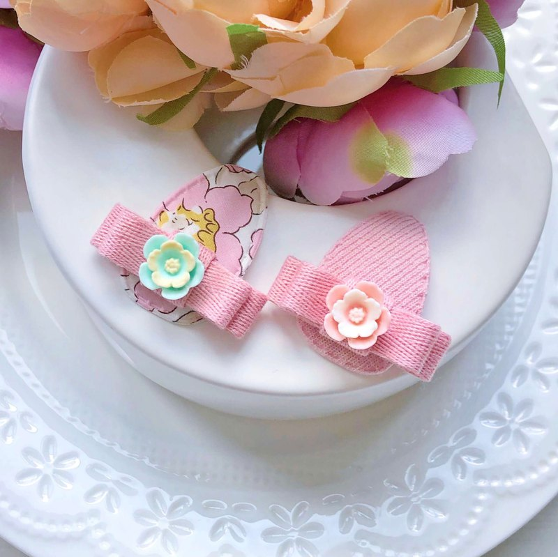 Pink tender and lovely baby child Liberty cloth water drop clip hairpin group